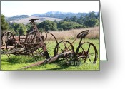 Old Farm Equipment Greeting Cards - Old Farm Equipment . 7D9744 Greeting Card by Wingsdomain Art and Photography