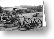 Farm Machine Greeting Cards - Old Farm Equipment . 7D9744 . Black and White Greeting Card by Wingsdomain Art and Photography