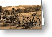 Hill Photographs Greeting Cards - Old Farm Equipment . 7D9744 . Sepia Greeting Card by Wingsdomain Art and Photography