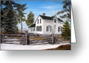 Split Rail Fence Painting Greeting Cards - Old Farm House Greeting Card by Anna-Maria Dickinson