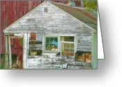 Shed Digital Art Greeting Cards - Old Farm Shed Greeting Card by Elaine Frink