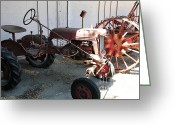 Old Farm Equipment Greeting Cards - Old Farm Tractor . 5D16587 Greeting Card by Wingsdomain Art and Photography