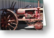Old Farm Equipment Greeting Cards - Old Farm Tractor . 5D16588 Greeting Card by Wingsdomain Art and Photography