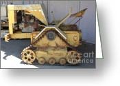 Old Farm Equipment Greeting Cards - Old Farm Tractor . 5D16596 Greeting Card by Wingsdomain Art and Photography