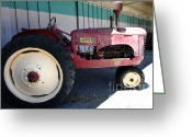 Old Farm Equipment Greeting Cards - Old Farm Tractor . 5D16604 Greeting Card by Wingsdomain Art and Photography
