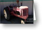 Old Farm Equipment Greeting Cards - Old Farm Tractor . 5D16606 Greeting Card by Wingsdomain Art and Photography