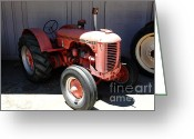 Old Farm Equipment Greeting Cards - Old Farm Tractor . 5D16607 Greeting Card by Wingsdomain Art and Photography