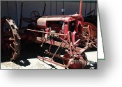 Old Farm Equipment Greeting Cards - Old Farm Tractor . 5D16609 Greeting Card by Wingsdomain Art and Photography