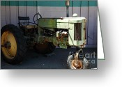 John Deere Greeting Cards - Old Farm Tractor . 5D16618 Greeting Card by Wingsdomain Art and Photography
