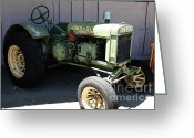 Old Farm Equipment Greeting Cards - Old Farm Tractor . 5D16622 Greeting Card by Wingsdomain Art and Photography