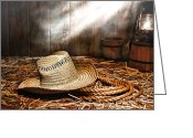 Wood Floor Greeting Cards - Old Farmer Hat and Rope Greeting Card by Olivier Le Queinec