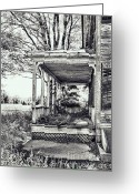 Building Detail Greeting Cards - Old Farmhouse Porch Greeting Card by HD Connelly