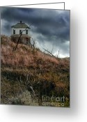 Dilapidated Greeting Cards - Old Farmhouse with Stormy Sky Greeting Card by Jill Battaglia