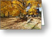 Historic Site Greeting Cards - Old Farmroad with Autumn Colors Greeting Card by George Oze