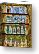 Digitally Enhanced Greeting Cards - Old Fashioned Milk Bottles Greeting Card by Susan Candelario