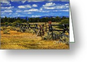 Grand Teton Panoramic Greeting Cards - Old Fence Line Greeting Card by Robert Bales