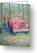Fire Pastels Greeting Cards - Old Fire Truck Greeting Card by Rae  Smith
