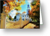 Autumn Scenes Greeting Cards - Old First Church of Bennington Greeting Card by Thomas Schoeller