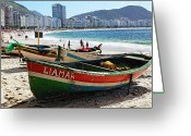 Row Boat Greeting Cards - Old Fishing Boats on Copacabana Beach Greeting Card by George Oze