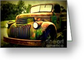 Chrome Grill Greeting Cards - Old Flatbed 2 Greeting Card by Perry Webster