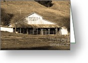 Old Farms Greeting Cards - Old Foothill Farms in Small Town of Sunol California . 7D10796 . sepia Greeting Card by Wingsdomain Art and Photography