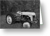 Robyn Stacey Photo Greeting Cards - Old Ford Tractor bw Greeting Card by Robyn Stacey