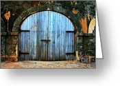 Old San Juan Greeting Cards - Old Fort Doors Greeting Card by Perry Webster