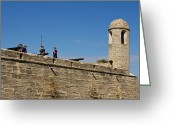 Florida Pyrography Greeting Cards - Old fort in St. Augustine in Florida Greeting Card by Les Palenik