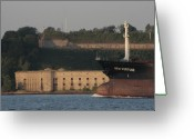 Tanker Greeting Cards - Old Fort New Fortune Greeting Card by Christopher Kirby