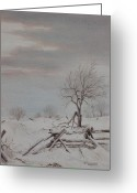 Split Rail Fence Greeting Cards - Old Friends  Greeting Card by Debbie Homewood