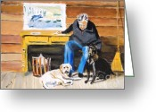 Sports Art Painting Greeting Cards - Old Friends Greeting Card by Judy Kay