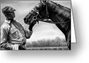 Jockeys Greeting Cards - Old Friends Greeting Card by Thomas Allen Pauly