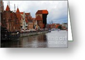 Pirate Ship Greeting Cards - Old Gdansk Port Poland Greeting Card by Sophie Vigneault