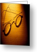 See Greeting Cards - Old glasses on Braille  Greeting Card by Garry Gay