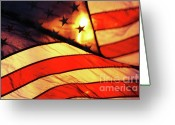 Red White And Blue Greeting Cards - Old Glory Greeting Card by Anahi DeCanio