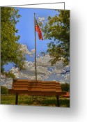 4th Greeting Cards - Old Glory Bench Greeting Card by Bill Tiepelman