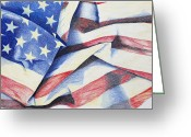 Flag Drawings Greeting Cards - Old Glory Greeting Card by Garry McMichael