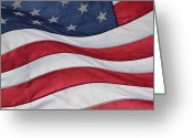 Fabric Greeting Cards - Old Glory Greeting Card by Lauri Novak