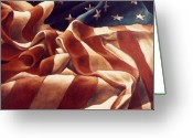 "\""old Glory\\\"" Greeting Cards - Old Glory Greeting Card by Michael Lang"