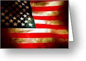 Aged Digital Art Greeting Cards - Old Glory Patriot Flag Greeting Card by Phill Petrovic