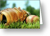 Stitches Greeting Cards - Old glove and baseball  Greeting Card by Sandra Cunningham