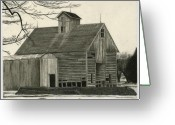 Drawing Greeting Cards Greeting Cards - Old Grainery Greeting Card by Bryan Baumeister