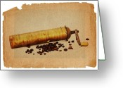Appliances Greeting Cards - Old Grinder And Beans Greeting Card by Michal Boubin