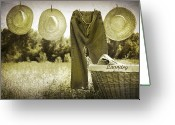 Clothesline Greeting Cards - Old grunge photo of jeans and straw hats  Greeting Card by Sandra Cunningham