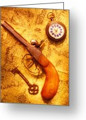 Weapon Photo Greeting Cards - Old gun on old map Greeting Card by Garry Gay