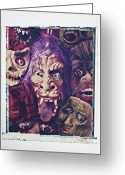 Frighten Greeting Cards - Old Halloween Masks Greeting Card by Garry Gay