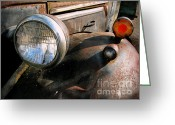 Old Trucks  Greeting Cards - Old Headlights Greeting Card by Colleen Kammerer