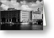 New Britain Greeting Cards - Old Historic Warehouse And The New Hilton Hotel At The Albert Dock Liverpool Merseyside England Uk Greeting Card by Joe Fox