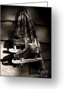 Ice Skates Greeting Cards - Old hockey skates with scarf hanging on a wall Greeting Card by Sandra Cunningham