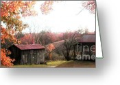 Old Country Roads Greeting Cards - Old Home Place and Barn In Fall Greeting Card by Vonicia Verton